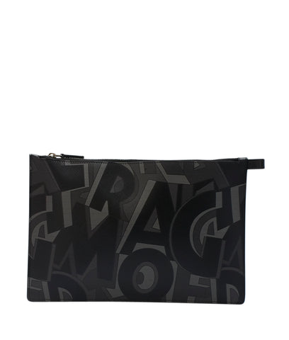 Salvatore Ferragamo GJ-660428 Black & Grey Leather Clutch