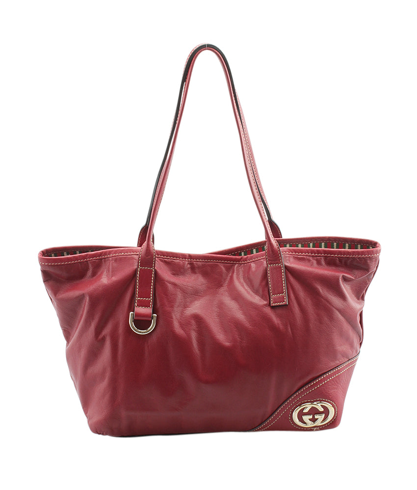 e593ce7e4e48 Gucci 169946 Medium Britt Tote Red Leather Tote | Cash In My Bag