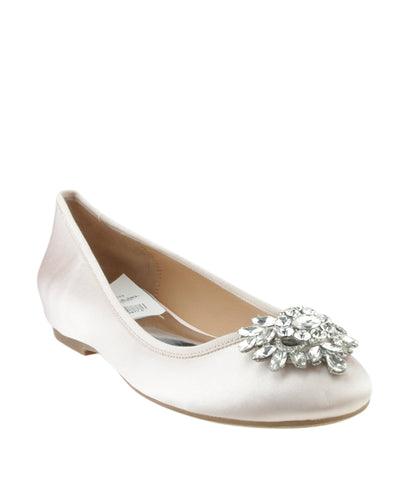 Badgley Mischka MP3544 Bianca Pink Satin Flats, Size 7.5