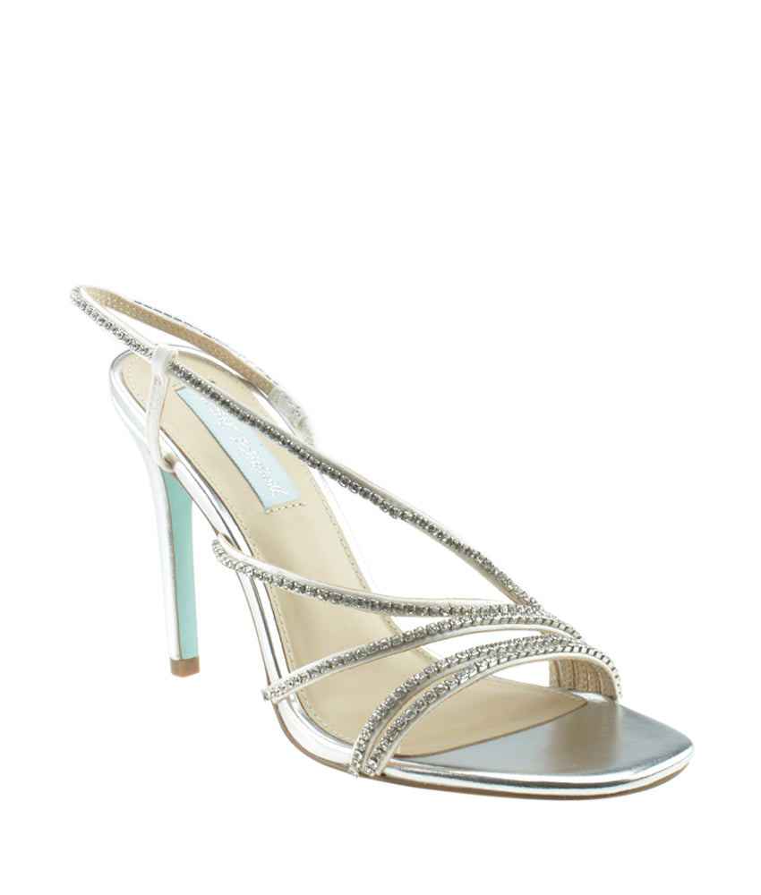 Betsey Johnson Aces Silver Leather Sandals, Size 8.5