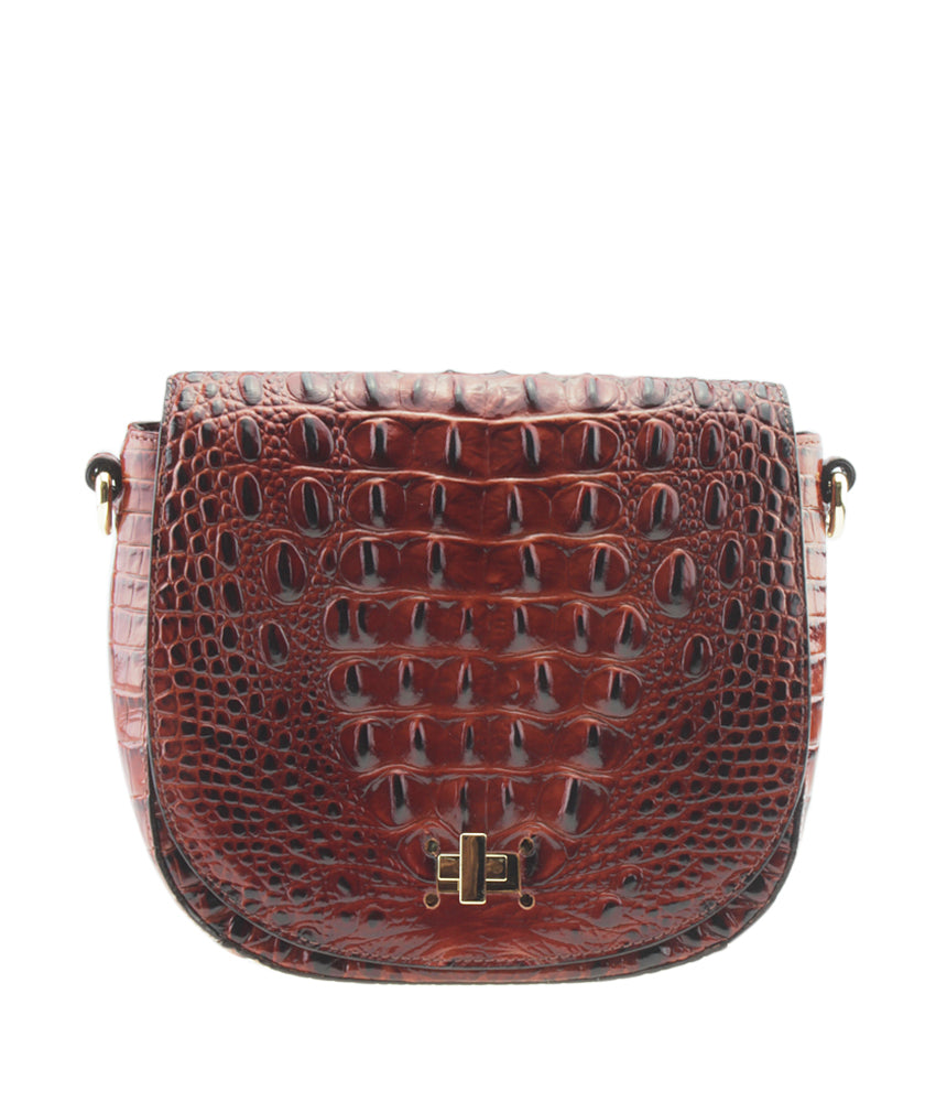 Brahmin Pecan Mini Sonny Brown Crocodile Embossed Leather Crossbody Bag