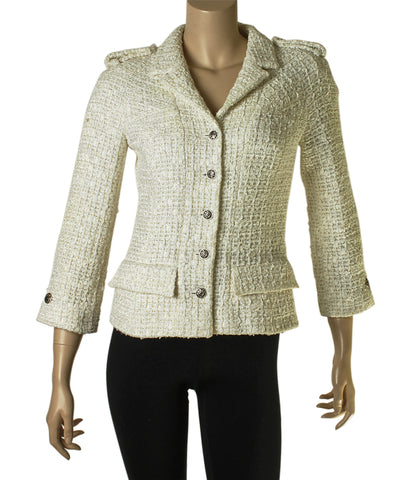 Chanel Tweed Beige 100% Wool Blazer, Size 4
