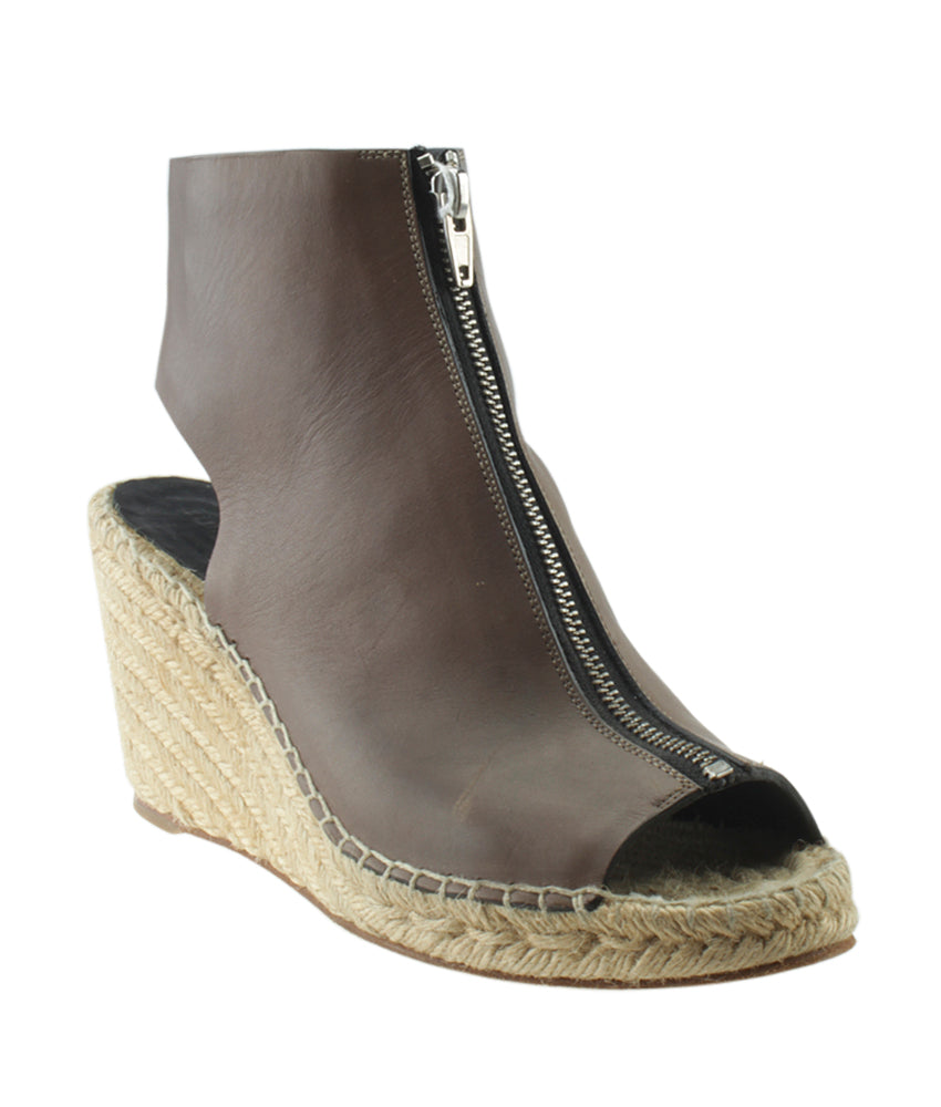 4fa289f2f02 Celine Zip Brown Leather Espadrille Wedges, Size 39