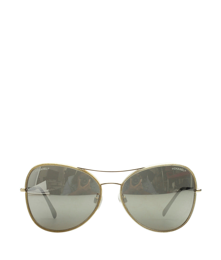 d5460ec2a0dd Chanel 4227-Q Gold Metal Aviator Sunglasses | Cash In My Bag