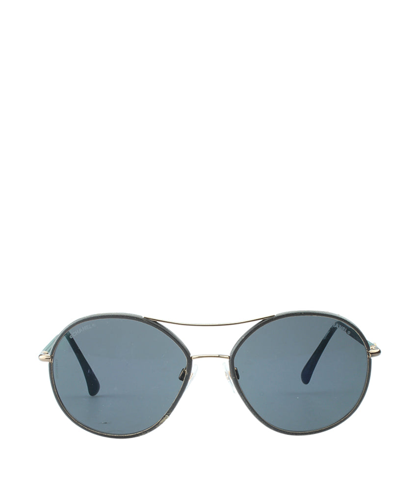 Chanel 4228-Q Green & Black Metal & Plastic Aviator Sunglasses