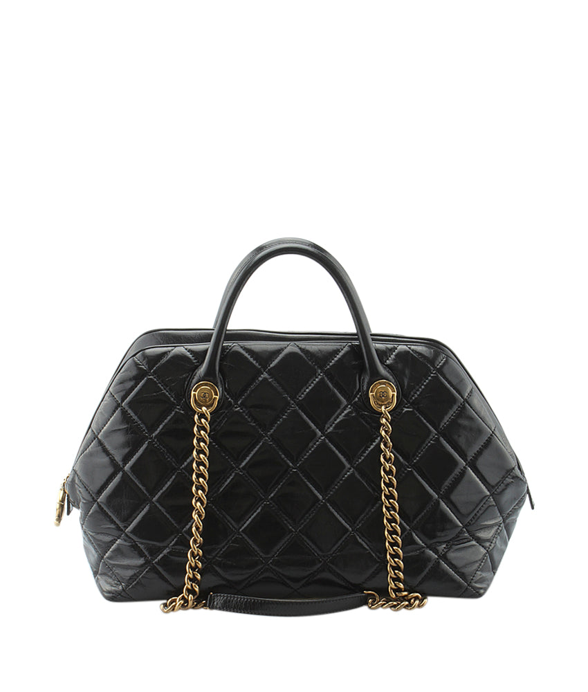 Chanel A67803 Castle Rock Black Quilted Leather Satchel