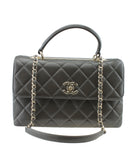 Chanel A69923 Medium Trendy Top Handle Brown Quilted Leather Bag