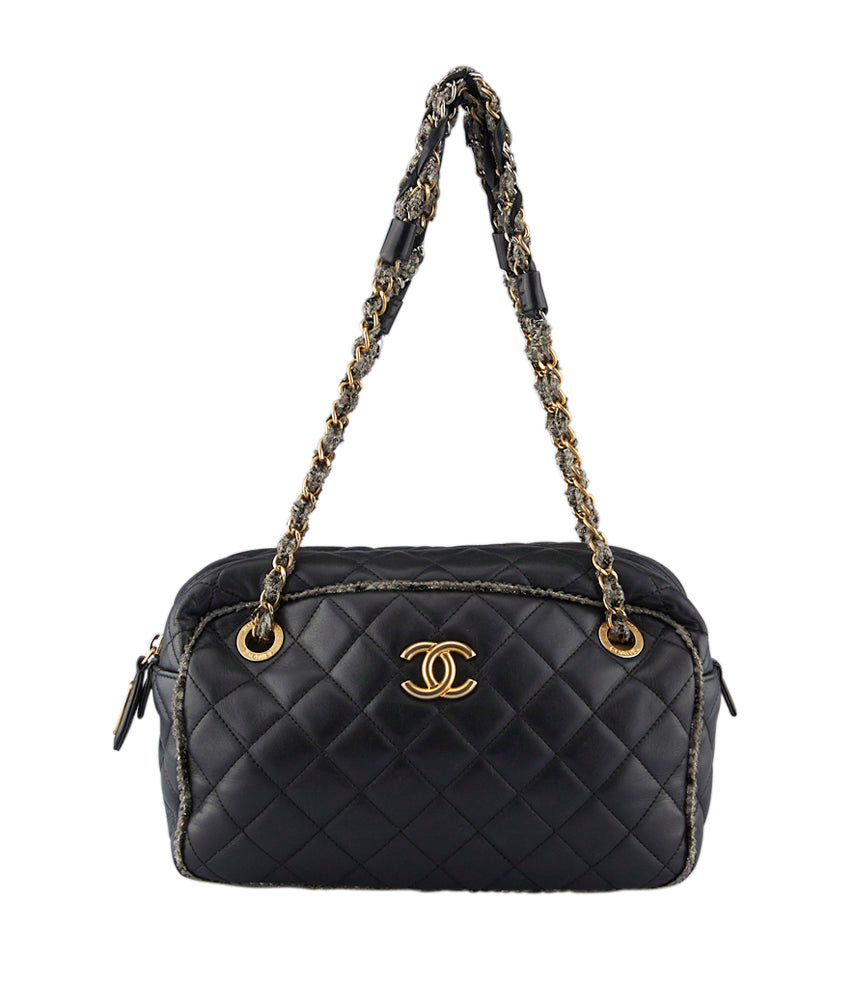 60a04a4296450a Chanel Tweed Black Quilted Lambskin Leather Shoulder Bag   Cash In My Bag
