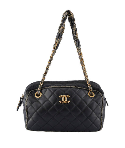 Chanel Tweed Black Quilted Lambskin Leather Shoulder Bag