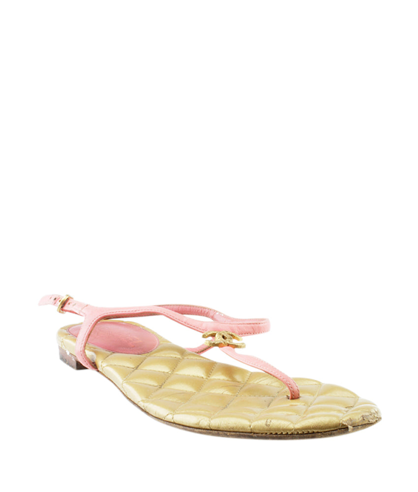 Chanel CC Thong Pink Leather Sandals, Size 38.5