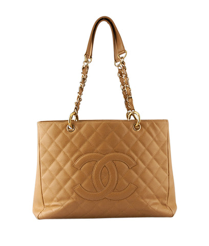 Chanel Grand Shopper Tan Caviar Quilted Leather Tote