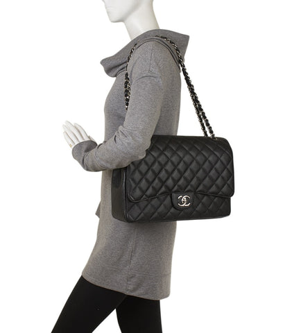 Chanel Maxi A58601 Black Quilted Leather Shoulder Bag