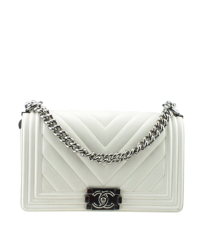 Chanel Medium Boy White Chevron  Lambskin Leather Bag