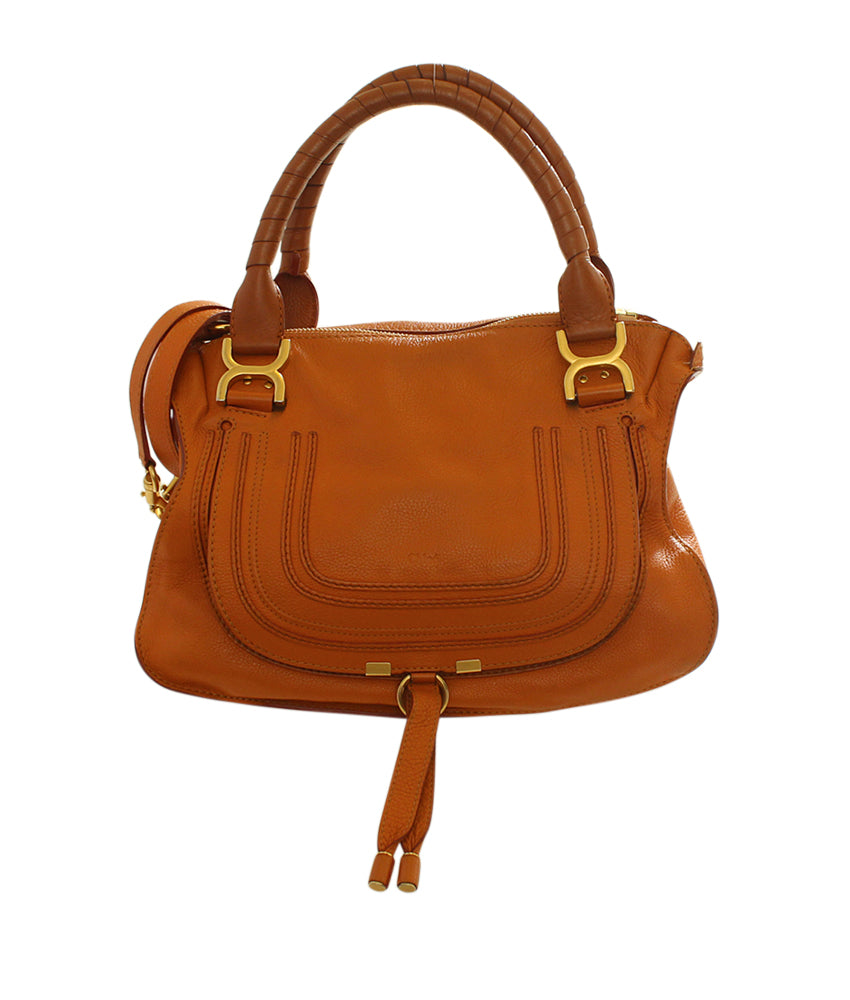 Chloe Medium Marcie Cognac Leather 2- Way Satchel Bag