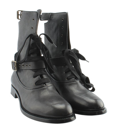 Chloe Otto Black Leather Mid - Calves Boots, Size 10