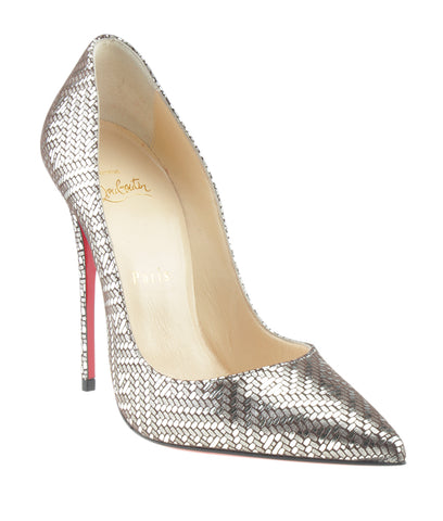 Christian Louboutin So Kate Kid Lame Gourmette Silver Heels, Size 37.5