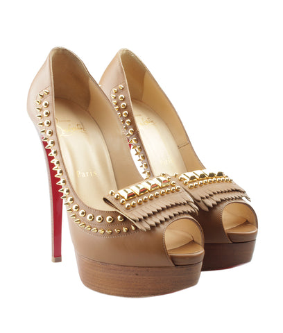 Christian Louboutin Lady ChiChi Brown Leather Heels, Size 8.5