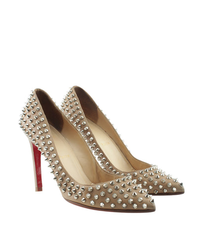 Christian Louboutin Pigalle Spikes Beige Patent Leather Pumps, Size 38.5