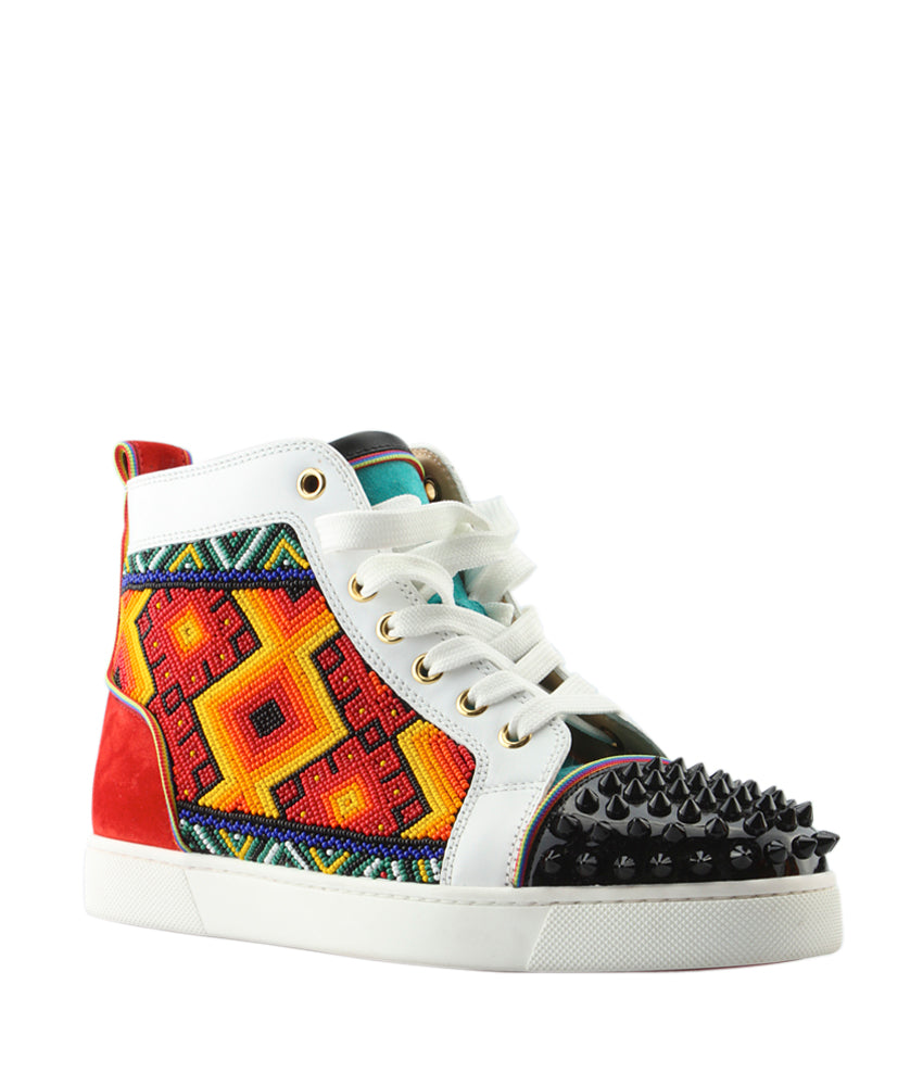 9e2048b655ed ... low price christian louboutin tipiho multi color leather suede sneakers  0c35d e3ae3