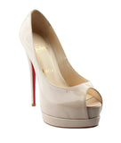 Christian Louboutin Very Prive Beige Patent Leather Heels, Size 36.5