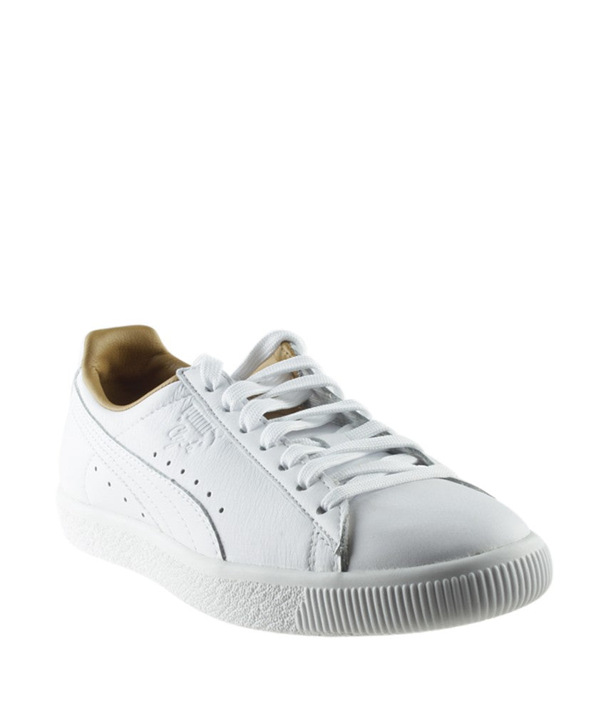 Puma Women's Clyde White Leather Flat Sneakers, Size 9.5