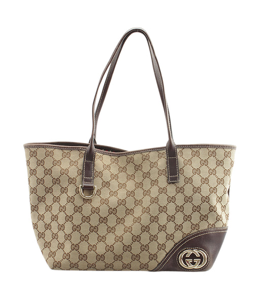 56375d135ae3 Gucci 169946 New Britt GG Canvas & Brown Leather Tote | Cash In My Bag