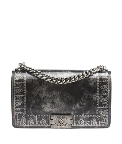 Chanel Boy A67086 Silver & Black Leather Shoulder Bag