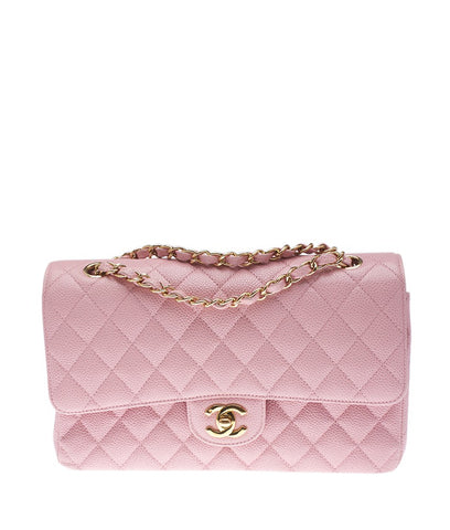 Chanel Pink Caviar Quilted Leather Double Flap Shoulder Bag