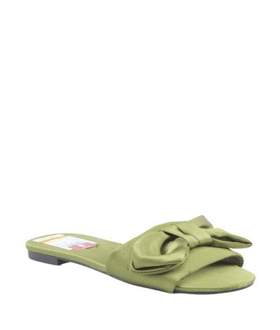 Zigi Soho Valiant Green Satin Bow Sandals, Size 6