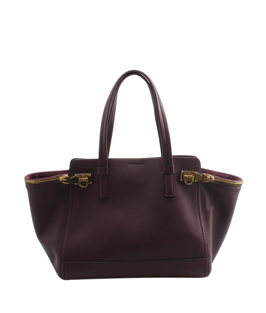 Salvatore Ferragamo DH-21 D992 Verve Purple Leather Tote  3d10c102f6039