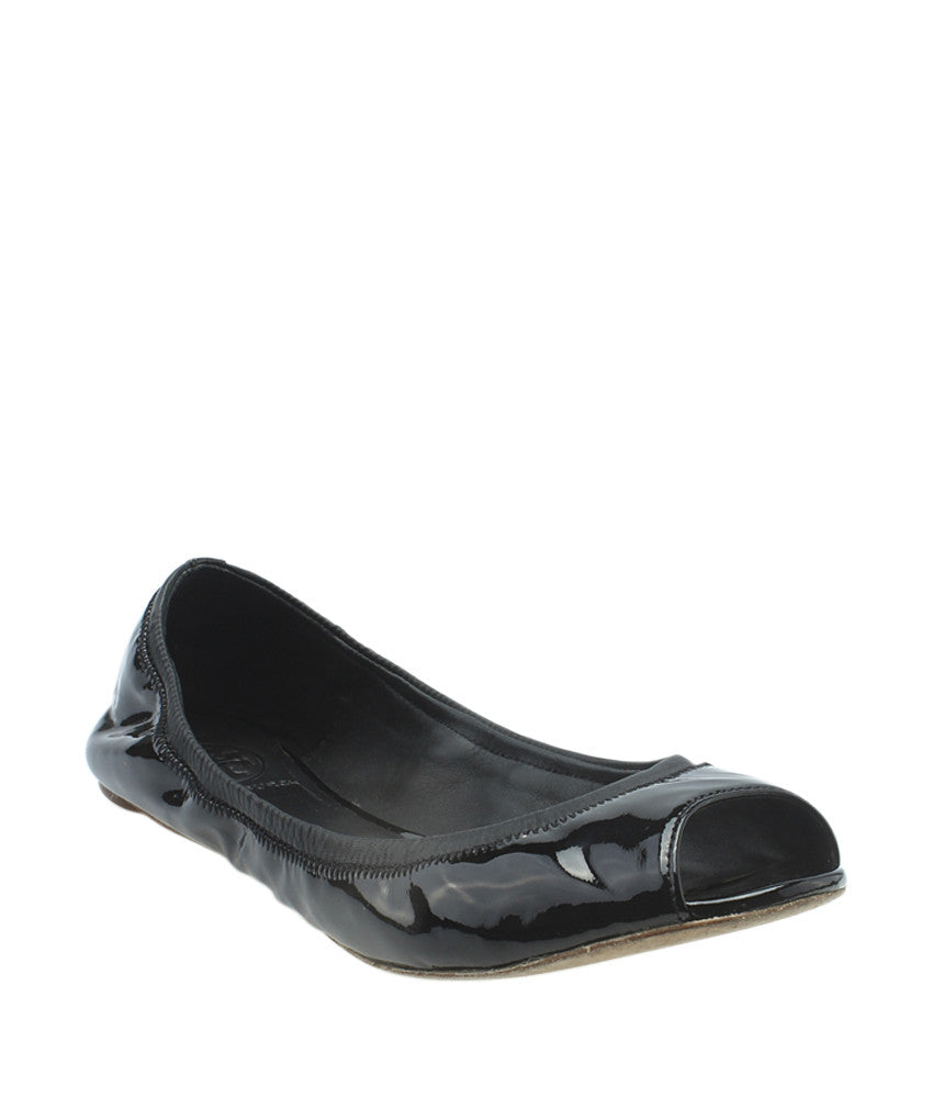 Tory Burch Peep Toe Ballet Black Patent Leather Flats, Size 9