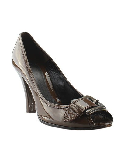 Fendi Brown Patent Leather Pumps, Size 10