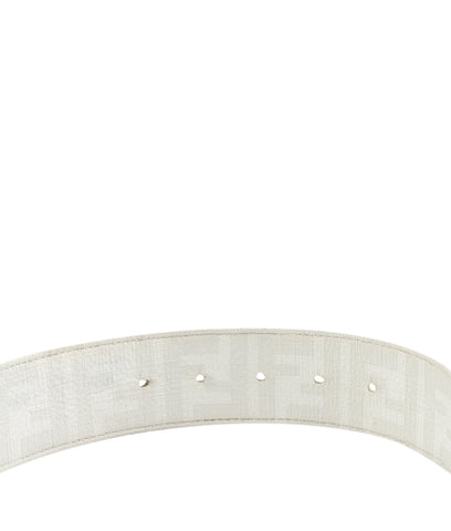 Fendi White Coated Canvas Belt, Size 95/38