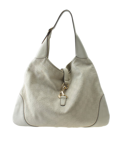 Gucci 153693 Jackie O Bouvier Ivory Guccissima Leather Hobo