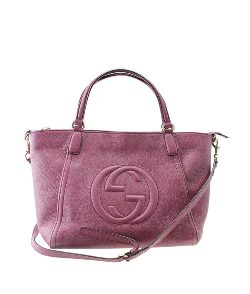 Gucci 369176 Soho Cellarius Purple Leather Tote
