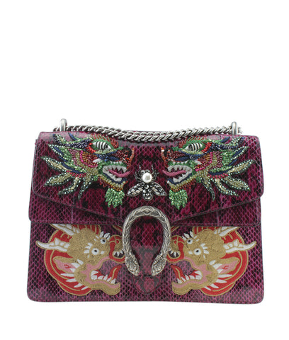 Gucci 403348 Medium Python Dionysus Burgundy Shoulder Bag
