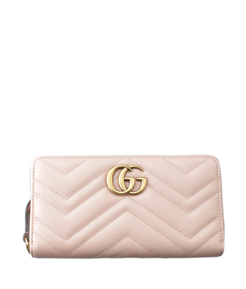 fb2064d406ef Gucci 443123 Marmont Wallet Pink Chevron Leather Zippered Wallet | Cash In  My Bag