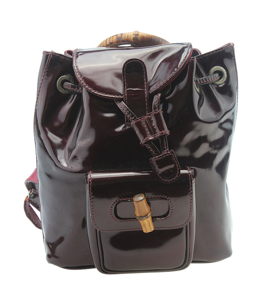 Gucci Mini Bamboo Burgundy Patent Leather Backpack