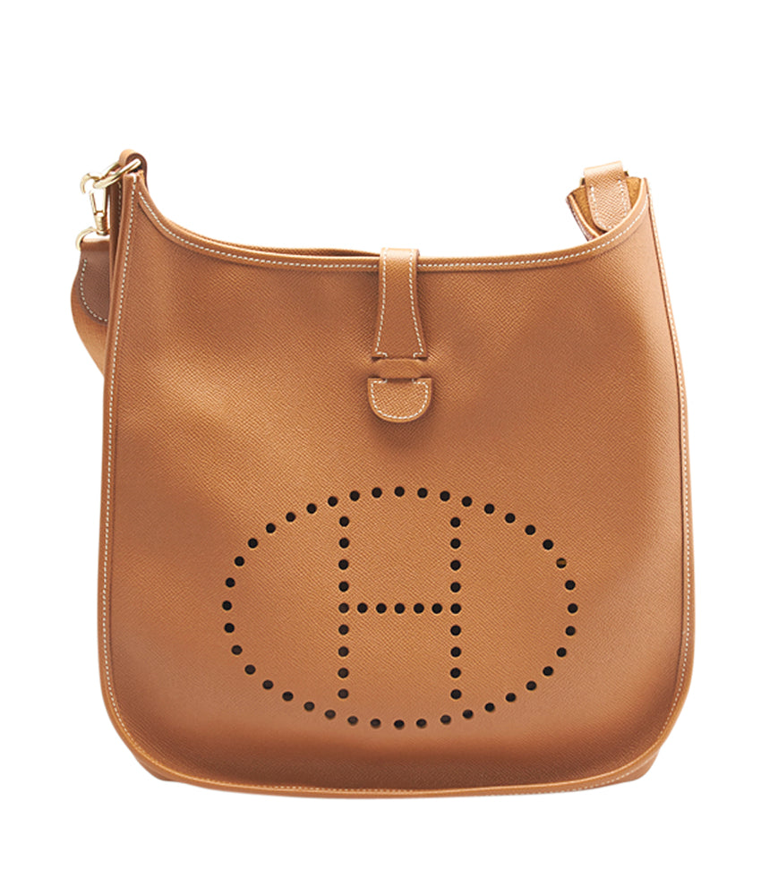 Hermes Evelyne I GM Gold Leather Crossbody Bag