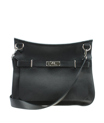 Hermes Jypsiere 37 Black Clemence Leather Crossbody Bag