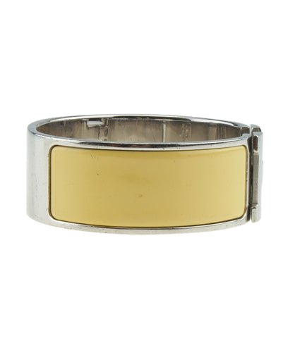 Hermes Clic Clac Wide Yellow & Silver HW Bracelet