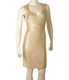 Herve Leger Iman Gold Rayon & Nylon Cocktail Dress, Size M