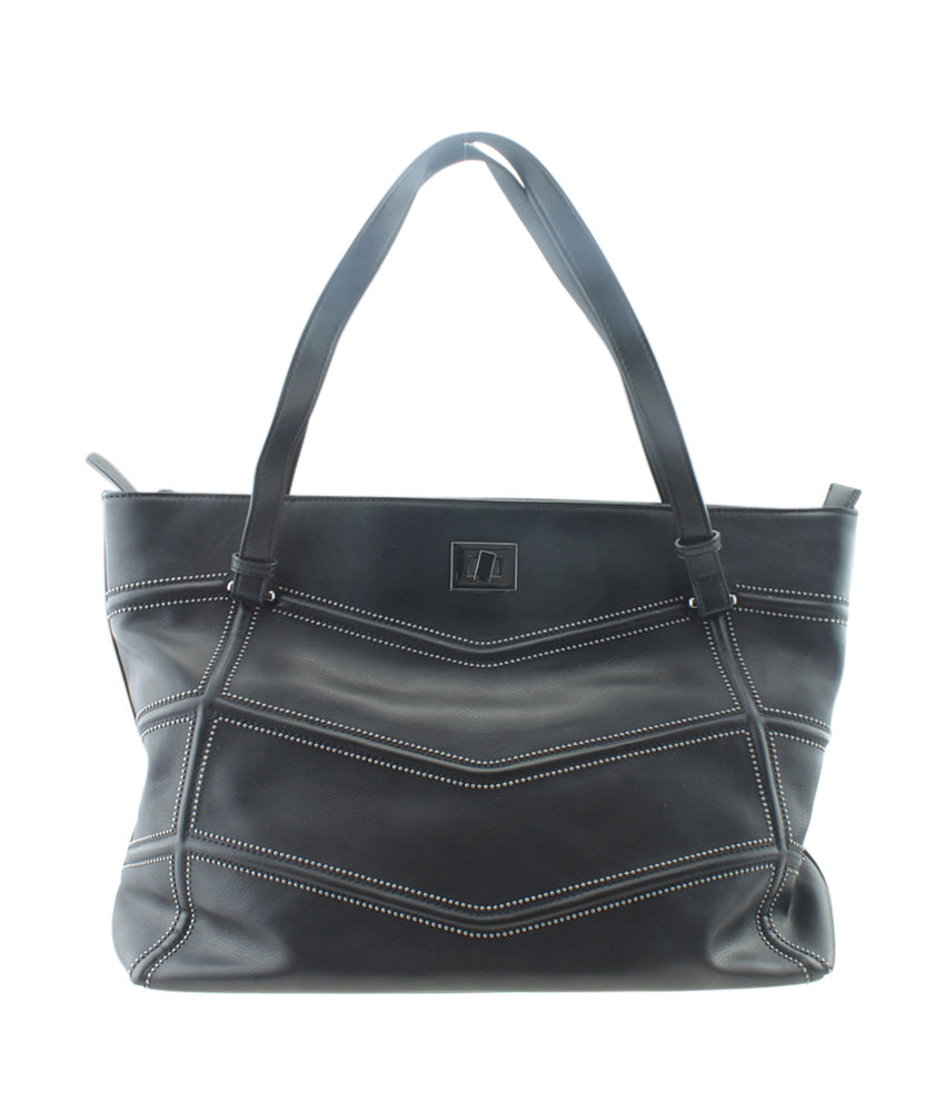 INC International Black Leather Tote