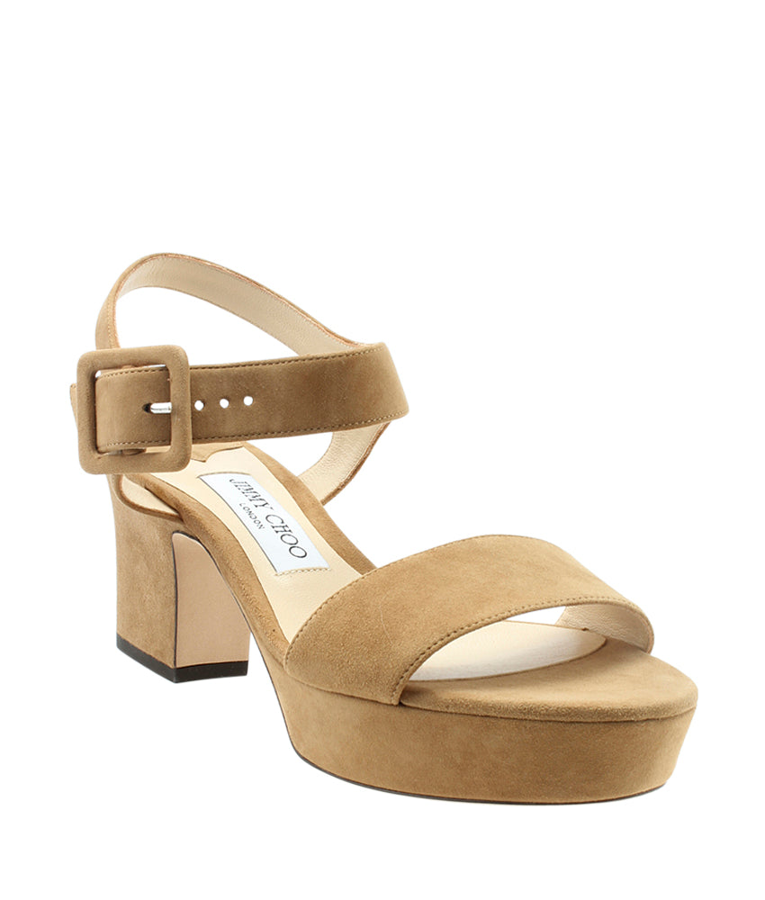 Jimmy Choo Suede Ankle Strap Brown Platform Sandals, Size 38