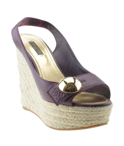 Louis Vuitton Purple Leather & Espadrille Wedges, Size 38