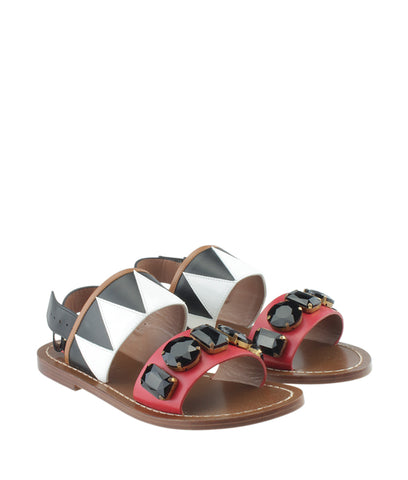 Marni Samsw22 Multi-Color Leather Sandals, Size 37