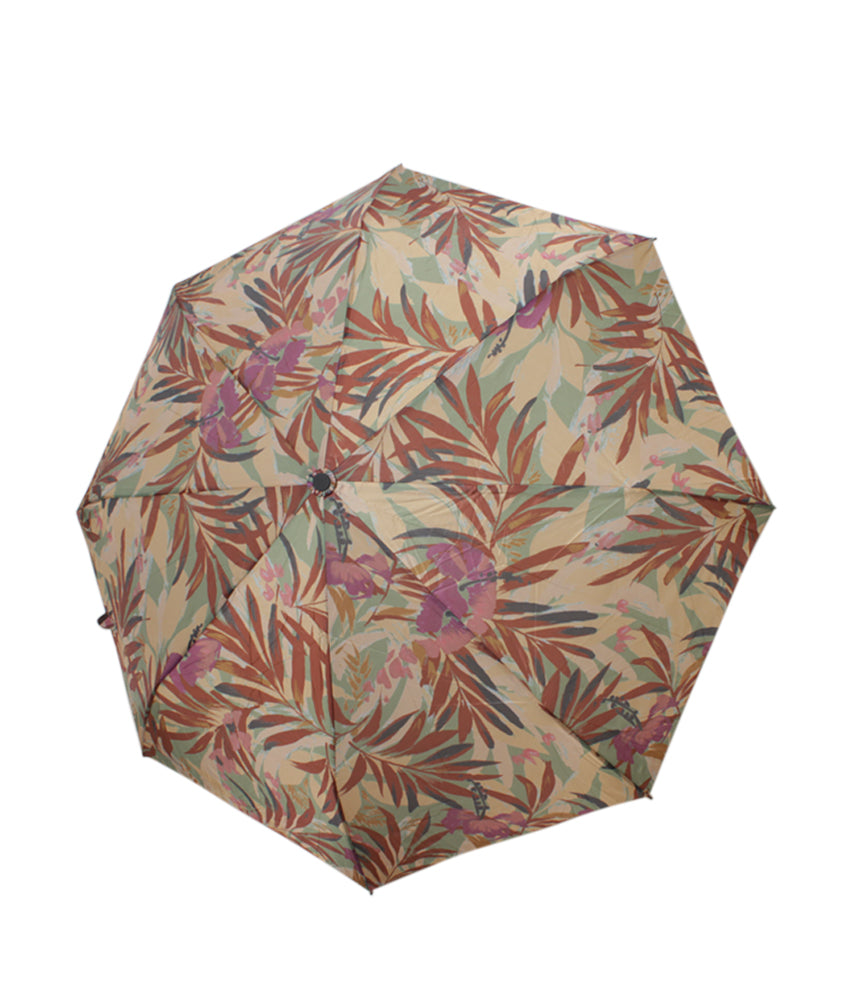 Patricia Nash Palm Leaves Magliano Brown Nylon Umbrella
