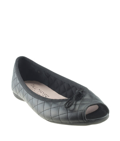 Paul Mayer Bay Brighton Black Quilted Leather Flats, Size 7