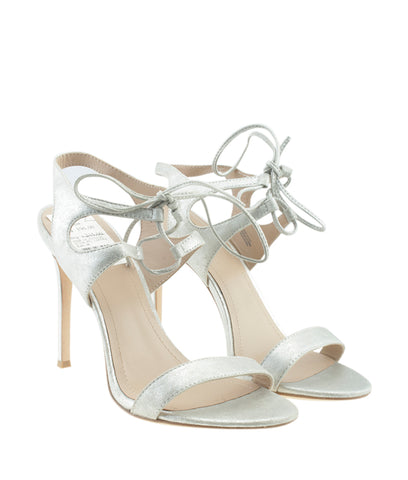 Pour la Victoire Elisa Silver Leather Sandals, Size 7.5