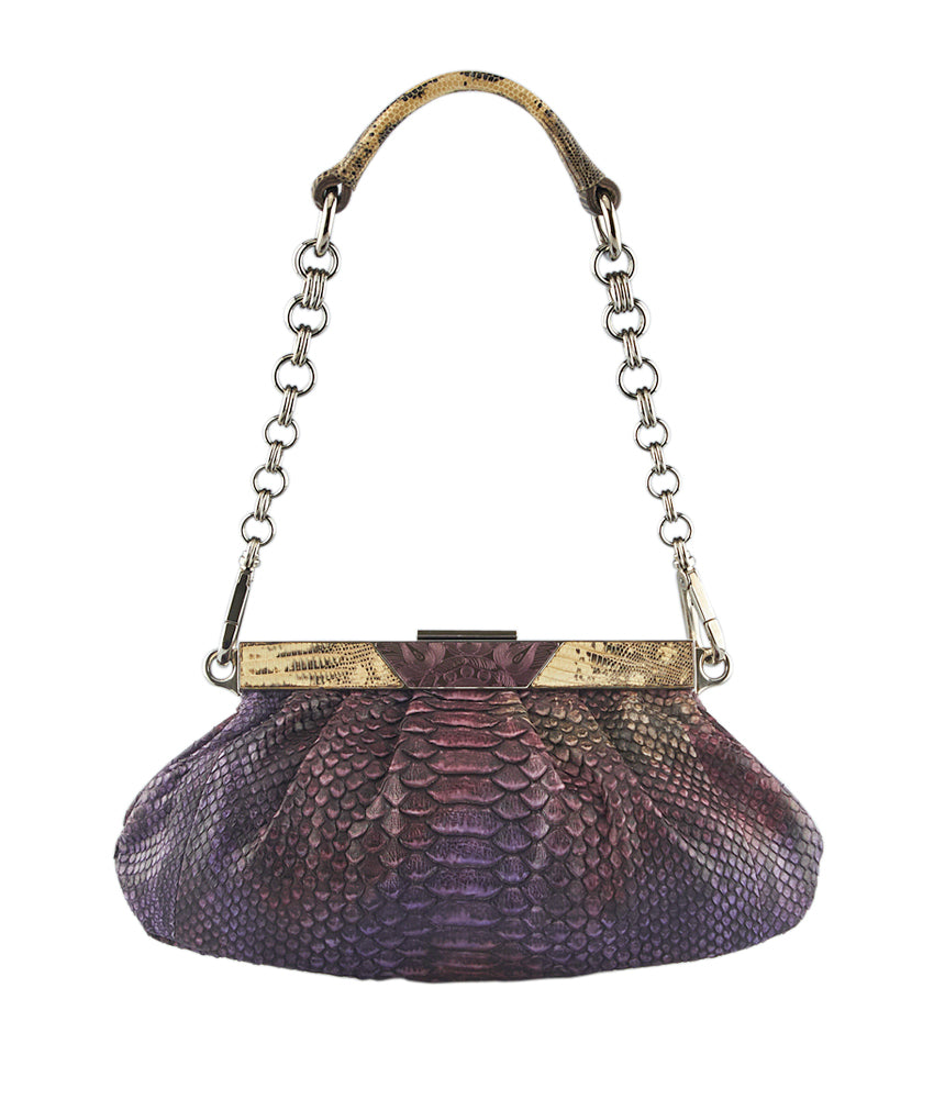 Prada BR2850 Pitone Skipper Purple Lizard & Python Shoulder Bag
